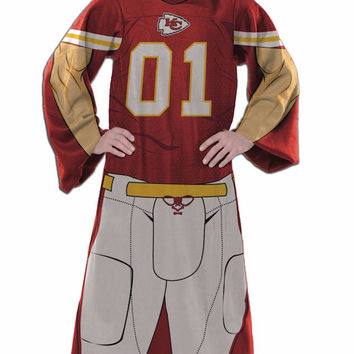Kansas City Chiefs Comfy Throw Blanket With Sleeves - Player Design