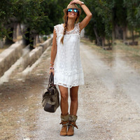 Sexy Women Casual Sleeveless Beach Short Solid White Lace Dress