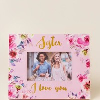 Sister Love You Dark Floral Picture Frame