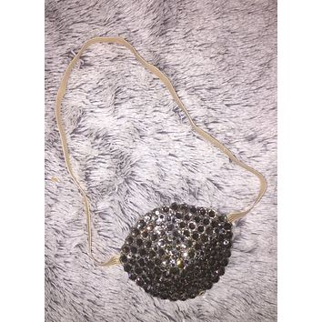Nude/Skintone Black Diamond Crystal Bedazzled Eye Patch