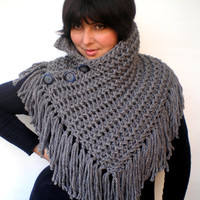 Fringe Stone Grey Ivy Cowl Super Soft Wool Neckwarmer Women Fashion Cowl Chunky Texture Cowlneck NEW