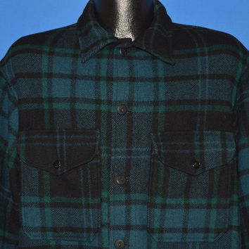 60s Pendleton Plaid Button Up Wool Jacket Large