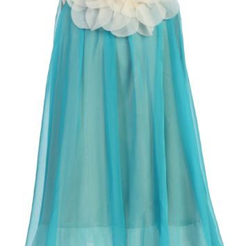 Turquoise & Ivory Chiffon Shift Dress with Petal Trim (Girls 2T - Size 14)