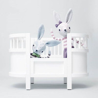 INS Original Wooden Dolls Bed In Children's Room For Collect Doll And Toy wood cradles White And Purple  As Decorate Kids Room