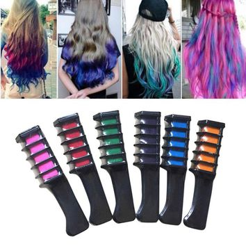6 Pcs/Set Temporary Hair Chalk Color Comb Dye Kits Disposable Cosplay Party Hairs Dyeing Tool Crayons For Home Salon H7J