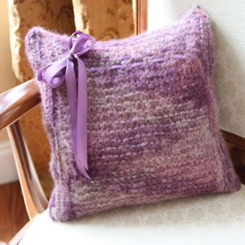 Hand knit pillow in shades of purple alpaca by LadyshipDesigns