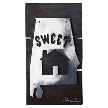 Sweet Home Alabama Reclaimed Wood & Shaped Metal Art Sign