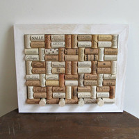 White Barnwood Wine Cork Board - Rustic Country Home Decor - Kitchen