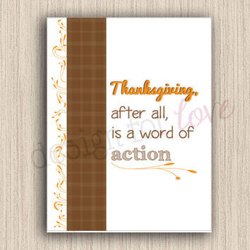 Thanksgiving Quote - Printable File - Fall Decor