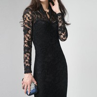 $ 39.59 Ericdress Black Lace Maxi Dress