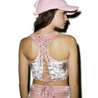 YOUR VELVET CRUSH LACE UP CROP TOP