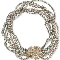 Carolee Necklace, Gold-Tone Taupe Plastic Pearl Multi-Strand Necklace - Breast Cancer Research Foundation - Fashion Jewelry - Jewelry & Watches - Macy's