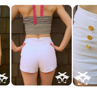 White Denim Sailor Shorts