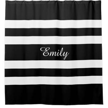 Personalized Name Black And White Bold Stripes Shower Curtain