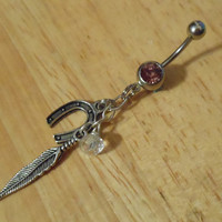 Belly Button Ring - Feather and Horse Shoe Belly Button Ring