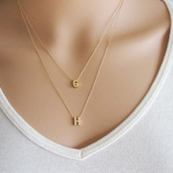 Double strand initials Necklace, initial necklaces, lovers necklace, two initials necklace, Personalized necklace, letters necklace.