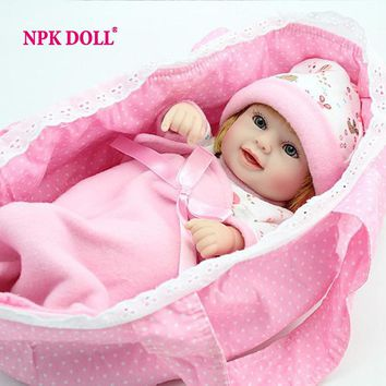 NPK Mini Reborn Baby Doll 10 inch Vinyl Baby Alive Toys Girls Gift  Basket Pillow Blankets Outfit