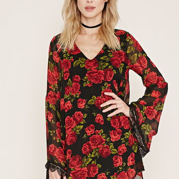 Rose Print Mini Dress