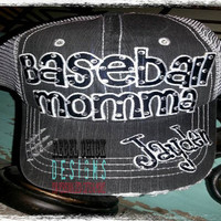 Personalized Custom School Team Baseball Mom Distressed  Blingy Trucker Hat