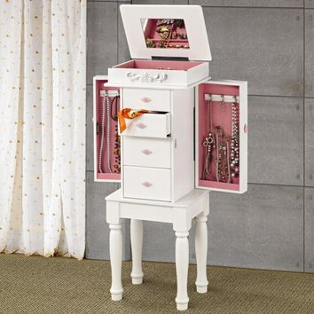 Matte white finish wood jewelry armoire with pink hardware and felt lining