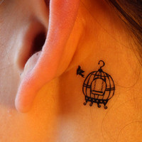 Bird and Birdcage Temporary Tattoo