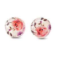Pink spring floral studs post earrings eco friendly floral jewelry wood jewelry etsy wood earrings flower jewelry eco fashion for her