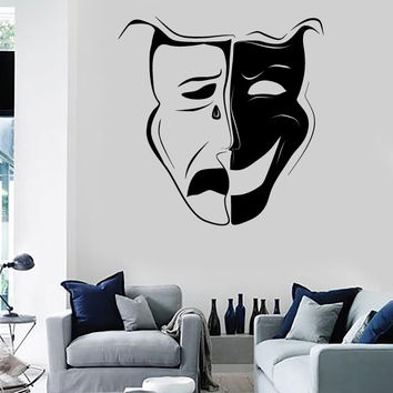 Wall Stickers Vinyl Decal Theatrical Mask Emotions Actor Art Decor (ig1799)