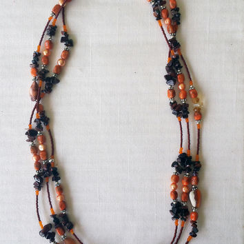 Burnt Orange and Brown Stone Necklace