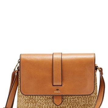 Fossil 'Small Kinley' Leather & Straw Crossbody Bag   Nordstrom