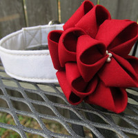 Dog Collar and Flower - MADE TO ORDER Wedding Deep Red Kanzashi Rose and White Collar