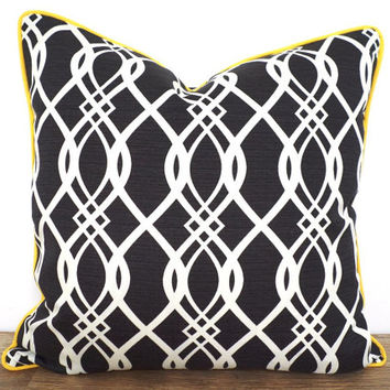 Dark grey outdoor pillow cover 18x18, outdoor bench cushion case, gray and yellow pillow outdoor fabric, geometric chair cushion