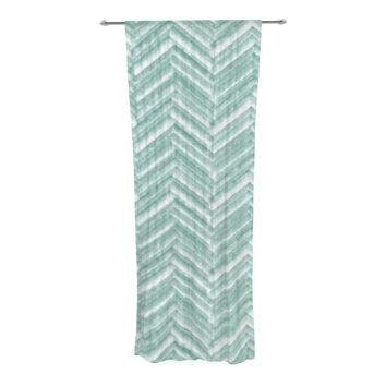 "Heidi Jennings ""Painted Chevron"" Teal Green Decorative Sheer Curtain"