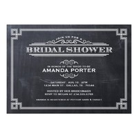 ELEGANT CHALKBOARD ART DECO BRIDAL SHOWER PERSONALIZED INVITATIONS from Zazzle.com