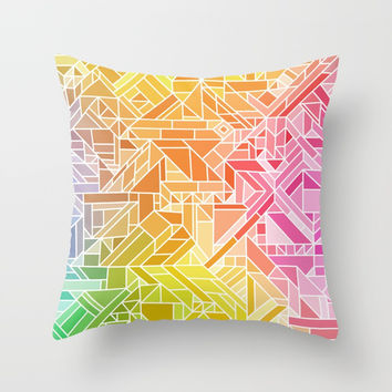 Bright Gradient (Hot Pink Orange Green Yellow Blue) Geometric Pattern Print Throw Pillow by AEJ Design