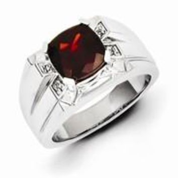 Sterling Silver Garnet & Diamond Square Men's Ring