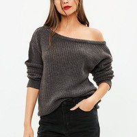 Missguided - Gray Off Shoulder Knitted Jumper