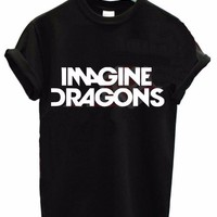 2016 Women T shirt IMAGINE DRAGONS Letter Print Cotton Casual Funny Shirt For Lady Black White Top Tee Hipster T-shirt