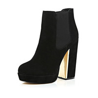 River Island Womens Black suede heeled ankle boots