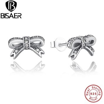 Delicate 925 Sterling Silver Sparkling Bowknot Stud Earrings for Women Clear CZ  Jewelry WEUS407