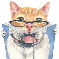 Watercolor PRINT - Cat and Dog Watercolour, 8x10, Reading, Orange Tabby, English Bulldog