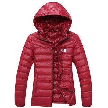 The North Face Men Brand New Ultralight Down Jacket Winter Outwear Zipper Thin Coat Wine red