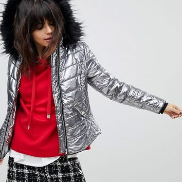 River Island Faux Fur Hooded Metallic Jacket at asos.com