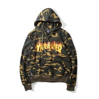 Thrasher Tops Long Sleeve Pullover Hoodies [9321335367]