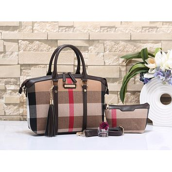 Burberry Popular Women Shopping Bag Leather Shoulder Bag Tote Handbag Set Two-Piece(4-Color) Coffee I-MYJSY-BB