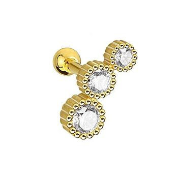 BodyJ4You Cartilage Tragus Earring 3 Gem Goldtone Piercing Jewelry