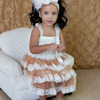 Ivory Petti Lace Romper Dress with Tan Chiffon Ruffles- BABY GIRLS WEDDING Dress-Shabby Chic Petti Romper Dress Set-Sz 24mo,3T,4T,5T