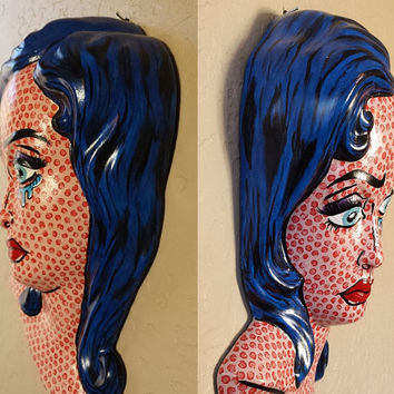 Roy Lichtenstein Style Upcycled Vintage Ceramic Religious Wall Plaque turned Retro Crying Comic Girl 3-D PoP ArT w/Speech Bubbles OOAK