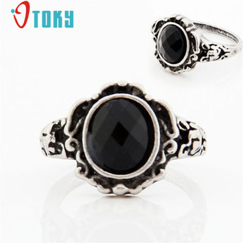 Free Shipping Jewelry Women Ladies Fashion carved Vintage Imitate Black Onyx Ring Accessories Drop Shipping 1.6cm*1.6cm S28