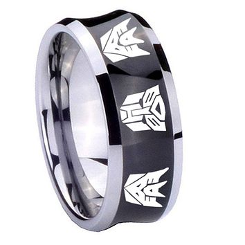 10mm Transformers Autobot Decepticon Concave Black Tungsten Carbide Mens Wedding Ring