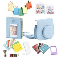 Minoniso Fujifilm Instax Mini 8 Accessories Bundles 7 in 1 Instant Film Camera Bag Set Include Mini 8 Case/Book Album/Close-up Selfie Lens/Colorful Close-up Lens/Wall Hang Frames/Film Frames/ Film Stickers